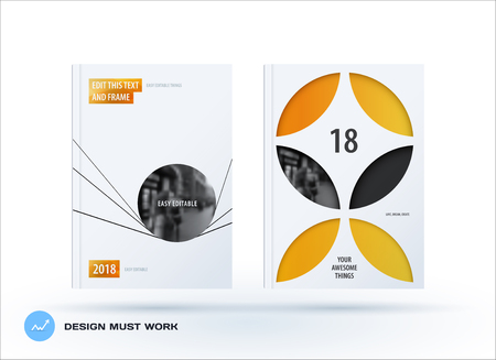 Business set of design brochure, abstract annual report, horizontal cover flyer in A4 with yellow circle lines shape for branding, advertisement. Minimal vector presentation template.