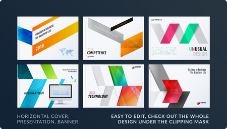 Presentation. Abstract vector set of modern horizontal templates with arrows diagonal shapes for business, teamwork  イラスト・ベクター素材