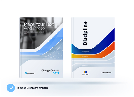 Creative design of blue orange business brochure set, abstract horizontal cover layout, flyer in A4 with colorful smooth shapes.