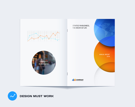 Abstract orange blue brochure design, modern catalog, centerfold cover, flyer in A4 Illustration