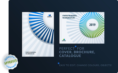 Template creative blue green abstract design of brochure set, annual report, horizontal cover.
