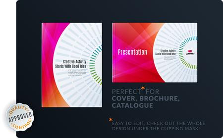 Modello di progettazione minima astratta creativa dell'insieme dell'opuscolo, rapporto annuale, copertura orizzontale