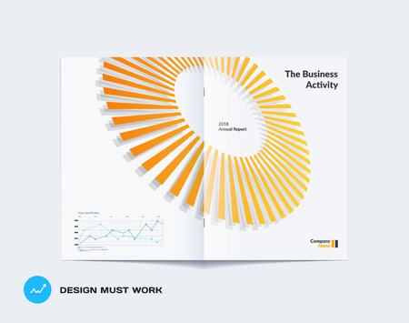 Abstract yellow grey brochure design, modern catalog, centerfold cover, flyer in A4 with colorful rays. Illustration