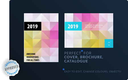 Template. Creative abstract design of brochure set, horizontal cover, flyer in A4 with colourful triangles for branding. Business vector presentation on polygonal background. Vettoriali