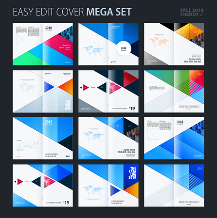 Abstract colourful brochure in material design paper cut style, modern catalog, centerfold cover