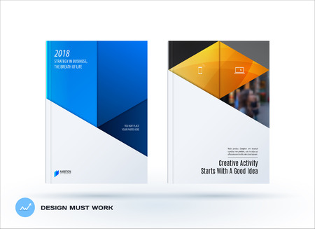 Material design template. Creative abstract brochure set, annual report, horizontal cover, flyer in A4 with blue colourful layers for branding, exhibition. Business vector presentation.
