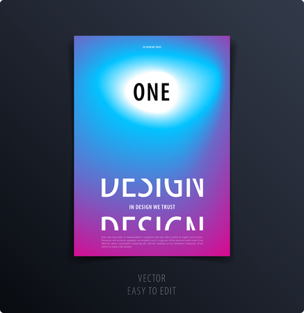 Abstract graphic design of brochure in fluid liquid style. Modern catalog cover template, flyer in A4 with colourful blurred smooth background for branding. Business vector presentation. Blend.