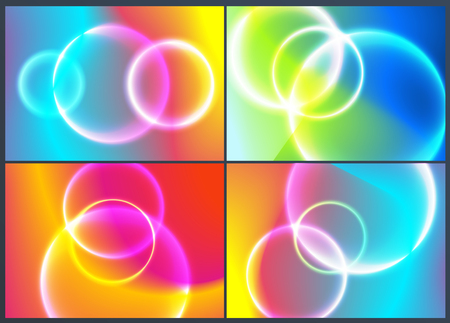 Set of fluid design of colorful abstract vector blend background