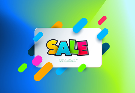 Sale banner template design on colorful background.