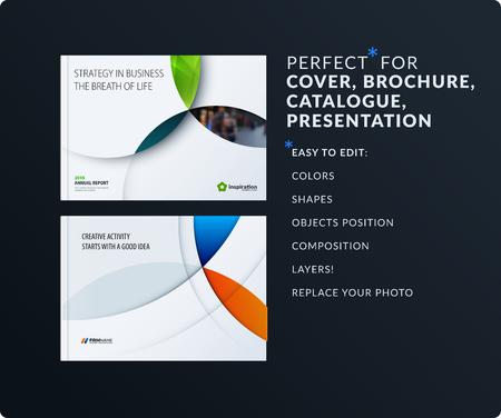 Materiaalontwerppresentatie. Abstract vector set van moderne horizontale sjablonen met kleurrijke cirkels kruispunten voor zaken, teamwerk, tech, ecologie. Reinig webkoppen. Vector Illustratie
