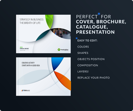 Material design presentation. Abstract vector set of modern horizontal templates with colourful circles intersections for business, teamwork, tech, ecology. Clean web headers. Vettoriali