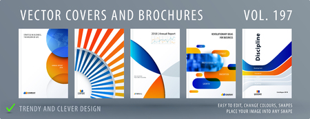 Design set of colourful abstract templates for business, trendy shapes, circles, rounds, rectangles, triangles. Stock Photo