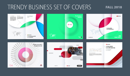 Design set of abstract double-page brochure with colourful circles, quares, triangles for branding. Business vector broadside. Stock Photo