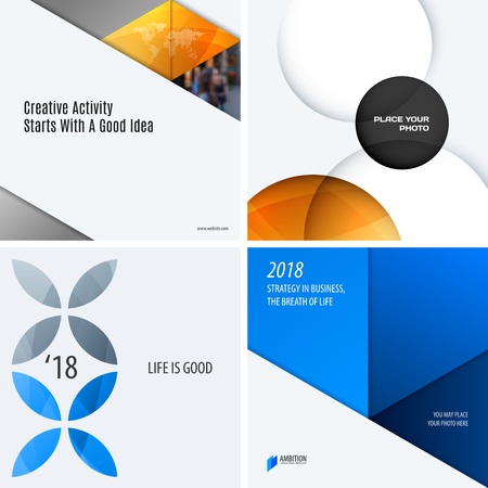 Design set of colourful abstract vector elements for modern background with circles, squares, triangles, smooth shapes