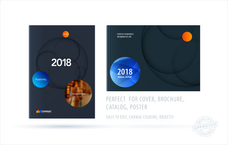 Brochure design paper-cut template. Colorful creative abstract set, annual report with circles shadows for branding.