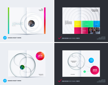 Design set of abstract double-page brochure with colourful circles, quares, triangles for branding. Business vector broadside. Vettoriali