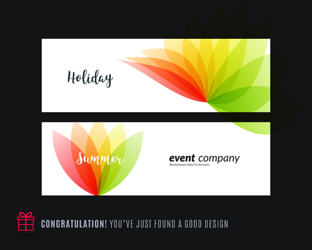 Abstract vector set of modern horizontal website banners with colourful red green flowers abstract shapes for construction, teamwork, tech, communication. Clean web headers design.