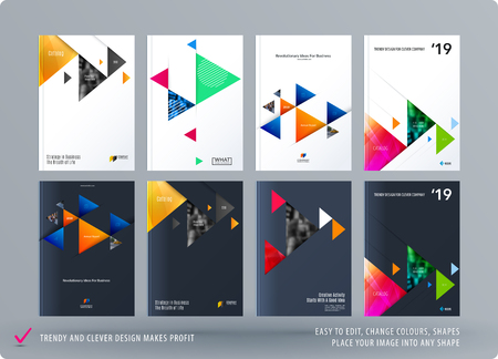 Brochure design triangular template. Colourful modern abstract set, annual report with triangles for branding.