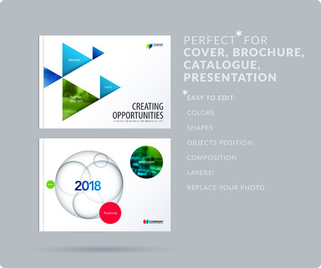 Triangular design presentation template with colourful triangles shadows. Abstract vector set of modern horizontal banners Stock Photo