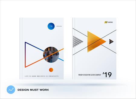 Brochure design triangular template. Creative abstract set.