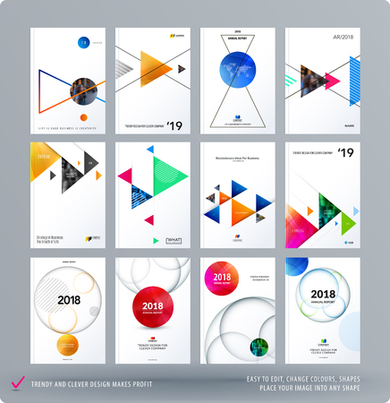 Brochure design triangular template. Creative abstract set, annual report, horizontal cover, flyer in A4 with colourful triangles for branding, exhibition. Business vector presentation.