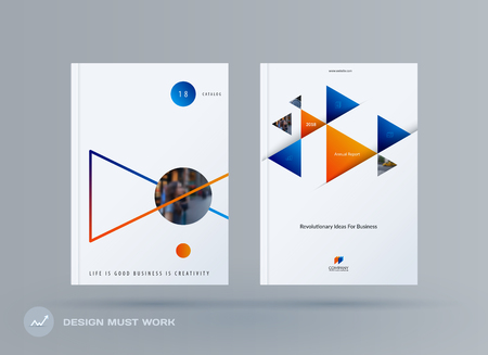 Brochure design triangular template. Creative abstract set, annual report, horizontal cover, flyer in A4 with colourful triangles for branding, exhibition.