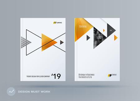 Brochure design triangular template.