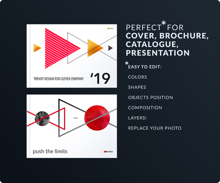 Triangular design presentation. Abstract vector set of modern horizontal templates with colourful triangles shadows for business, teamwork, tech, ecology. Clean web headers.