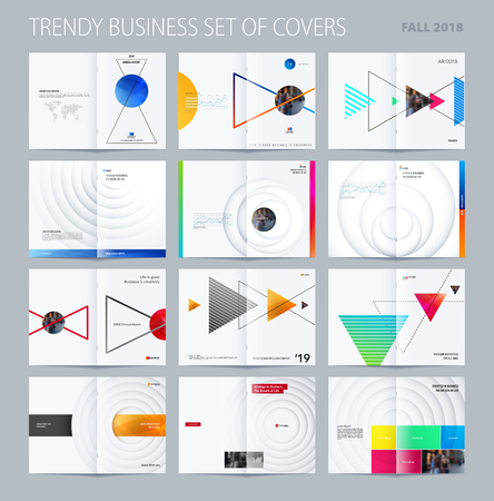 Abstract brochure in modern design style, modern catalog, double-page flyer in A4 with colourful triangles shadows for branding. Illustration