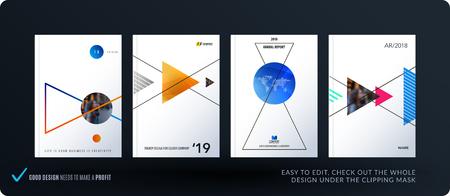 Brochure design triangular template Vettoriali
