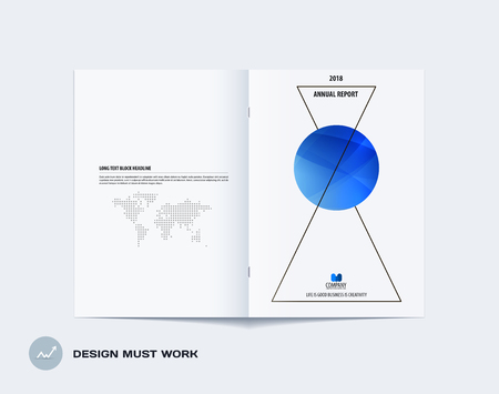 Abstract double-page brochure design style with colourful triangles for branding