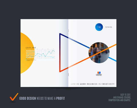 Abstract double-page brochure design style Illustration