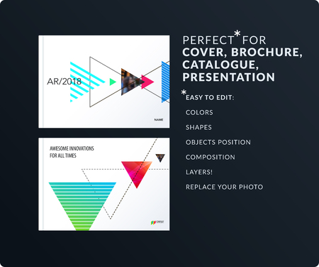 Triangular design presentation template with colourful triangles shadows. Abstract vector set of modern horizontal banners Illustration