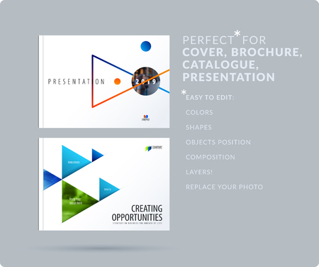 Triangular design presentation template with colourful triangles shadows.