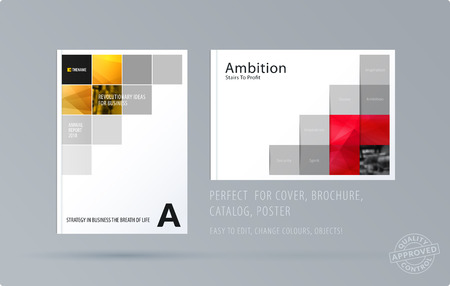 Brochure design square template. Creative abstract set, annual report, horizontal cover, flyer in A4 with colourful pexels for branding, exhibition. Business vector presentation.