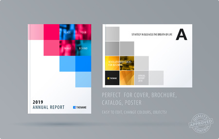 Brochure design square template. Creative abstract set, annual report, horizontal cover, flyer in A4 with colourful pixels for branding, exhibition, business vector presentation. Illustration