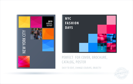 Brochure design square template. Creative abstract set, annual report, horizontal cover, flyer in A4 with colourful pixels for branding, exhibition. Business vector presentation. Vettoriali
