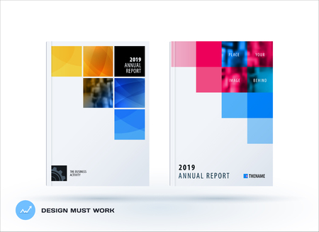 Brochure design square template. Colourful modern abstract set, annual report with pixels for branding.
