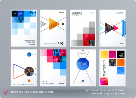 Brochure design square template. Creative abstract set, annual report, horizontal cover, flyer in A4 with colourful pixels for branding, exhibition. Business vector presentation. Illustration
