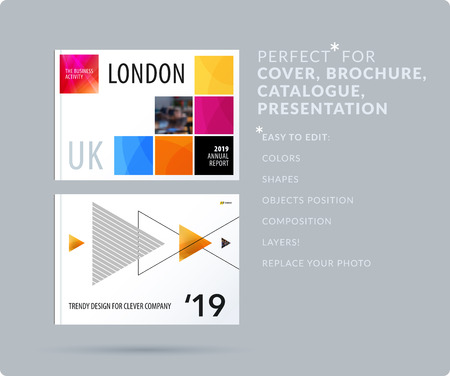Square design presentation template with colourful pixels shadows. Abstract vector set of modern horizontal banners