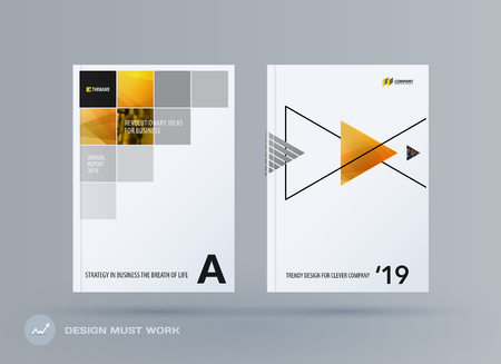 Brochure design square template. Creative abstract set, annual report, horizontal cover, flyer in A4 with colourful pixels for branding, exhibition. Business vector presentation.