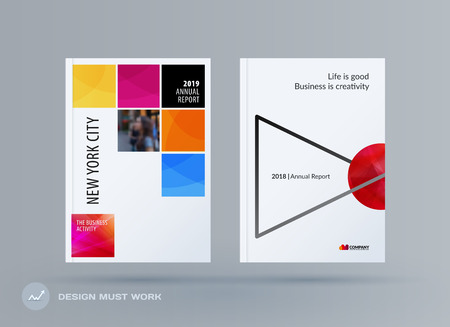 Brochure design square template. Creative abstract set, annual report, horizontal cover, flyer in A4 with colourful pixels for branding, exhibition business vector presentation.