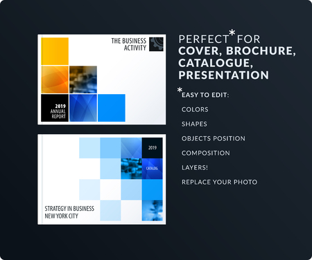 Rectangular design presentation. Abstract vector set of modern horizontal templates with colourful pixels shadows for business, teamwork, tech, ecology clean web headers. Illustration