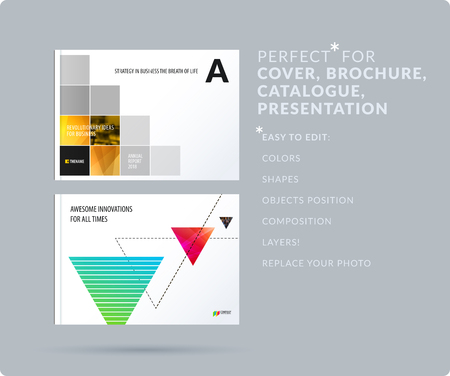 Rectangular design presentation. Abstract vector set of modern horizontal templates with colourful pixels shadows for business, teamwork, tech, ecology, clean web headers.