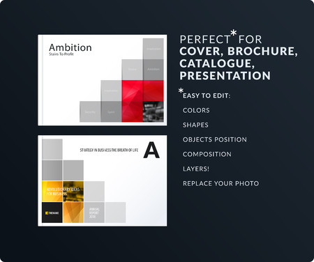 Rectangular design presentation. Abstract vector set of modern horizontal templates with colourful pixels shadows for business, teamwork, tech, ecology. Clean web headers.