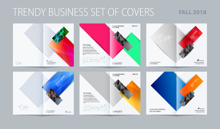Abstract double-page brochure design rectangular style with colourful rectangles for branding. Business vector presentation broadside. Vettoriali