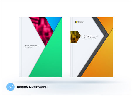 Abstract double-page brochure material design style with colourful layers for branding. Business vector presentation broadside. Illustration