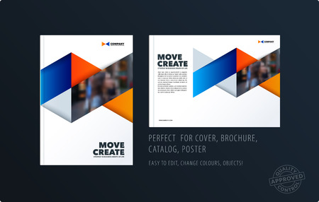 Brochure blue orange design triangles template. Colourful modern abstract set, annual report with triangles for branding.