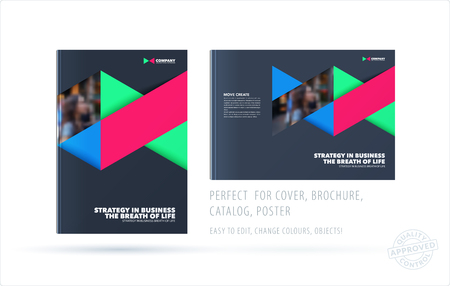Brochure design triangles template. Colourful modern abstract set, annual report with triangles for branding.