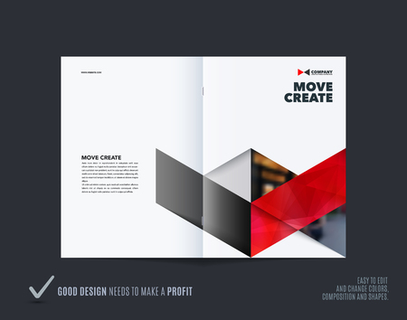 Abstract double-page brochure design hexagon style with colourful triangles for branding. Business vector presentation broadside.